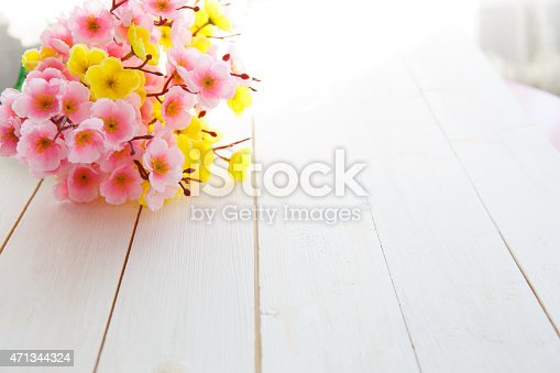 istock Spring Blossom over wood background. 471344324