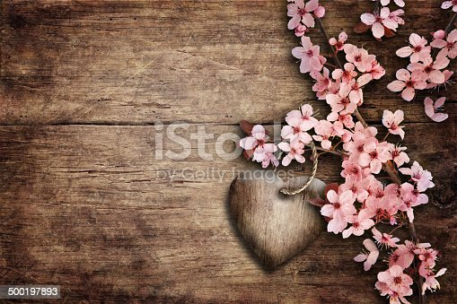 istock Spring Blossom over wood background. 500197893