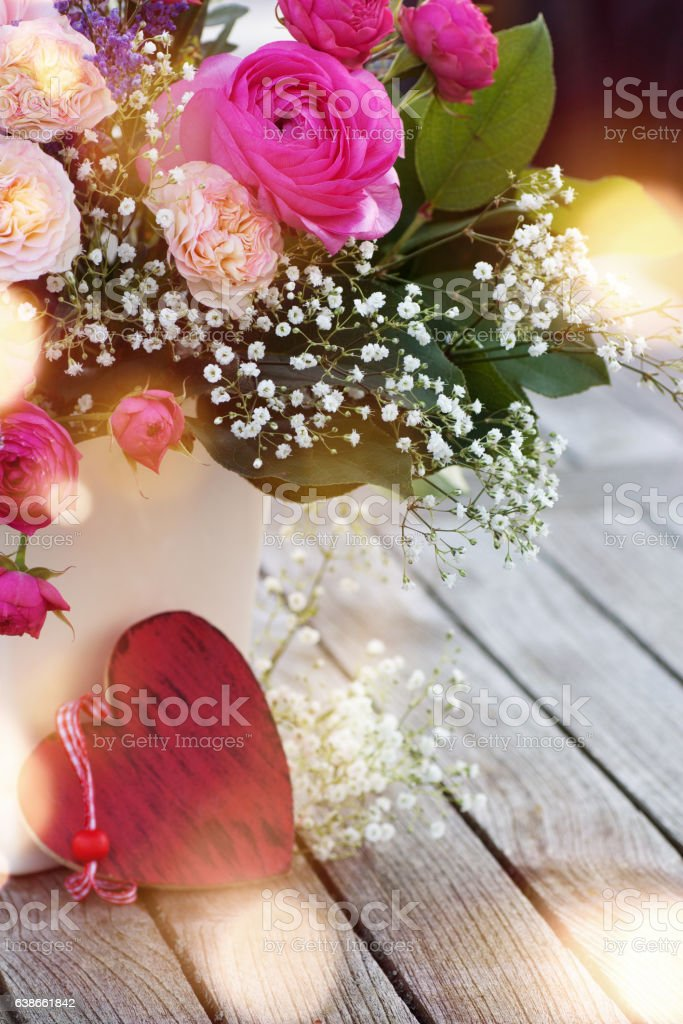 Spring bouquet with a heart stock photo