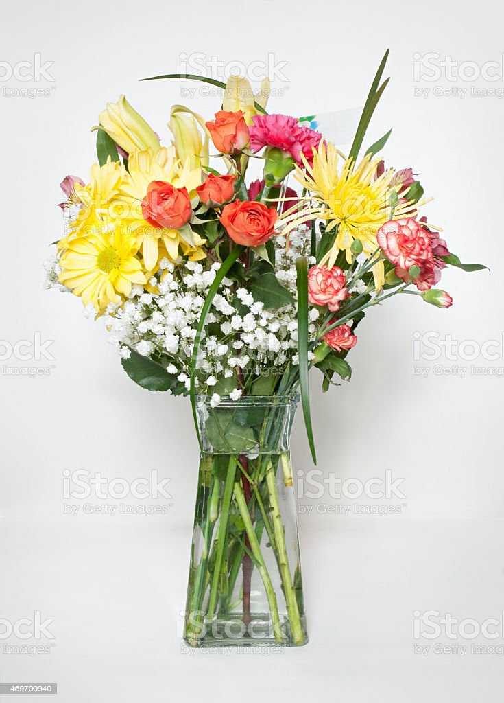 Spring Bouquet with Card stock photo