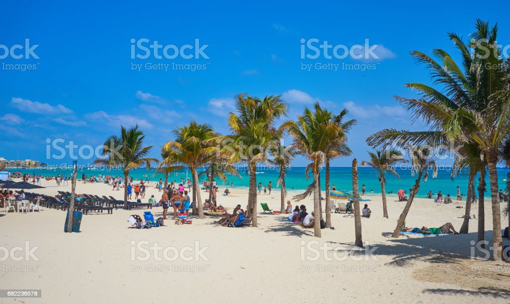 Spring Break at beach of 'Playa del Carmen' in Mexico stock photo