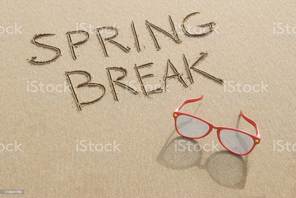 Spring Break Beach Message with Shades stock photo