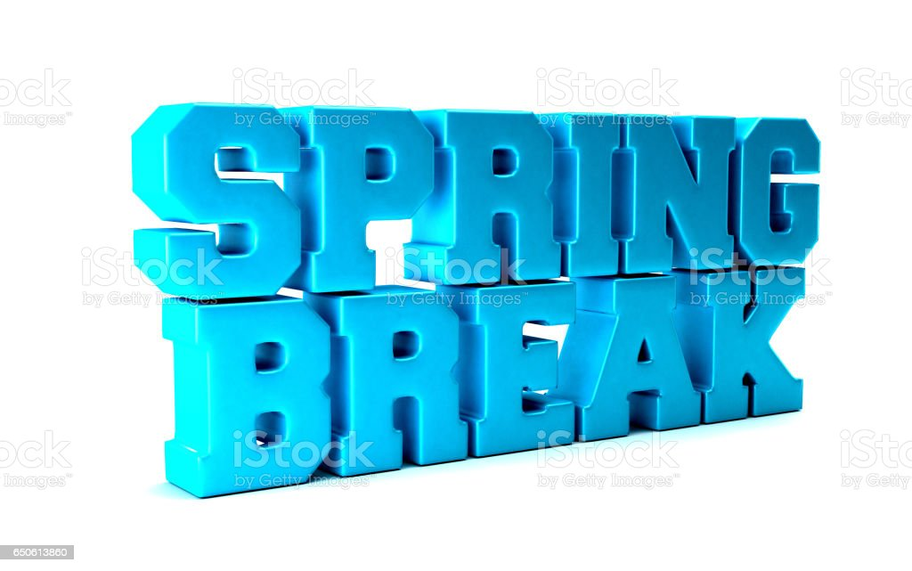 Spring Break Season Word. 3D Rendering Illustration stock photo