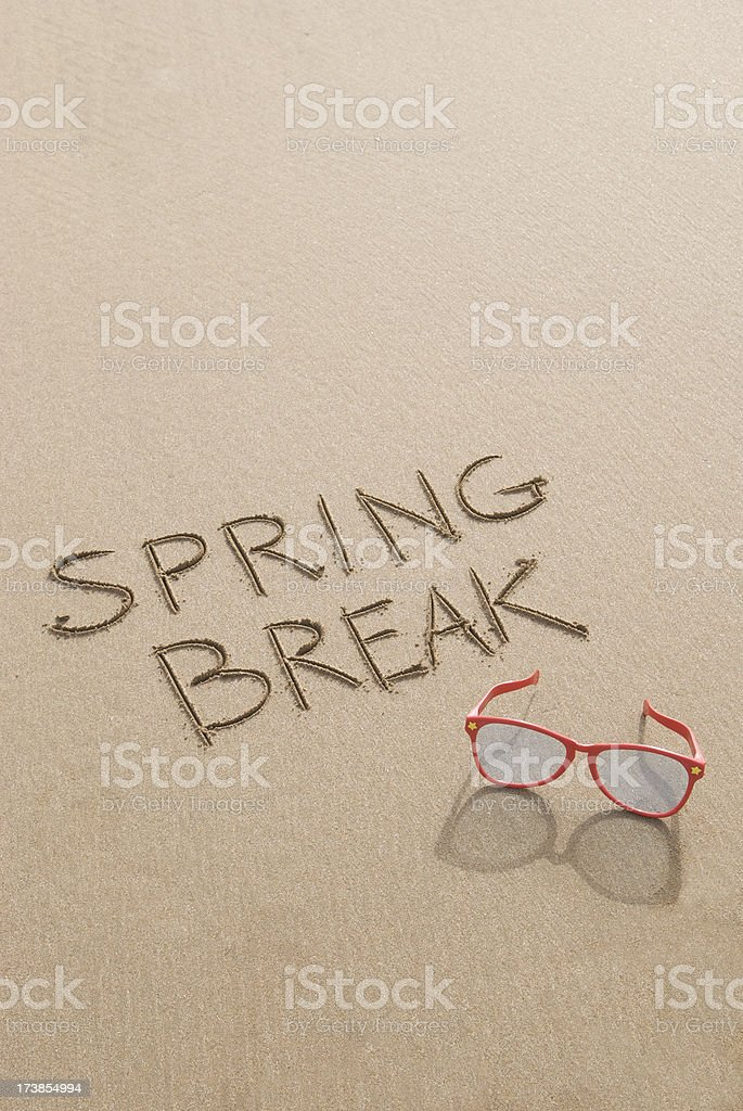 Spring Break Sunglasses on Sand stock photo