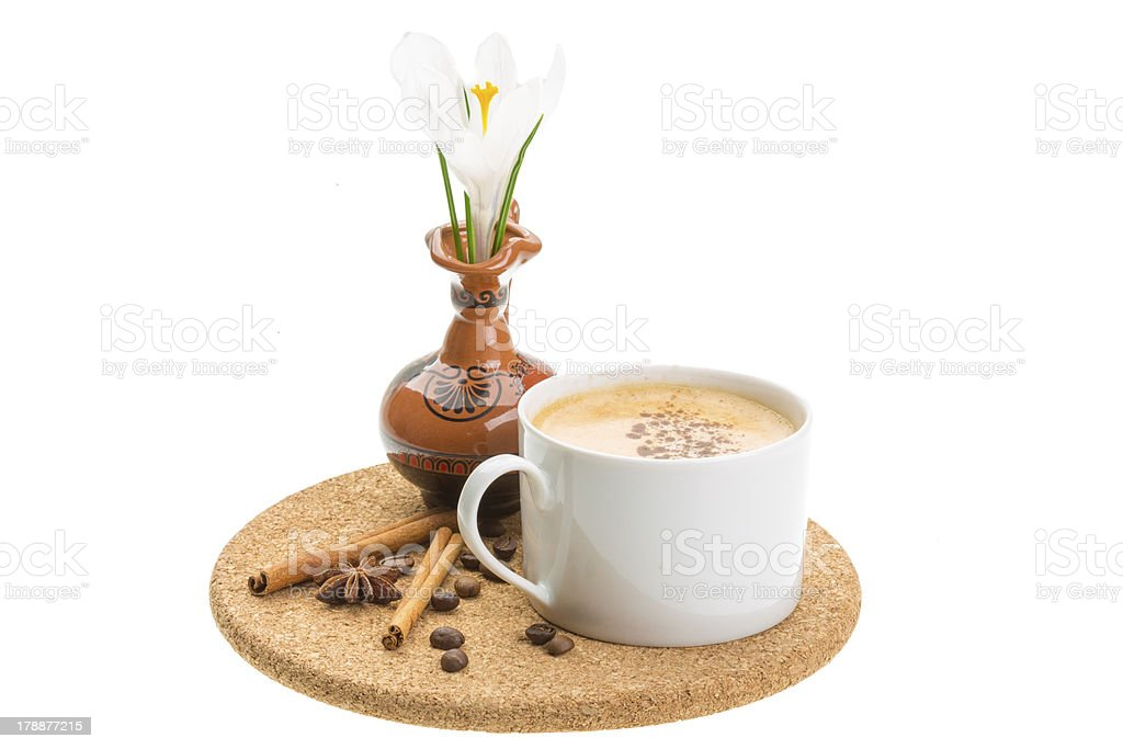 Spring breakfast with crocus royalty-free stock photo