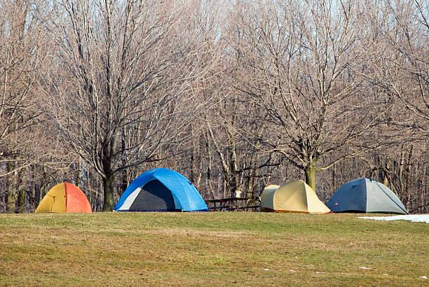 Spring Camping in the Niagara Escarpment stock photo