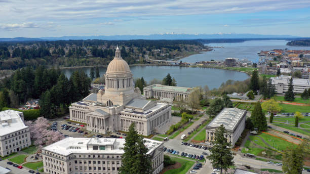 Spring Cherry Blossoms at the State Capital Building in Olympia Washington Aerial Perspective Over Spring Cherry Blossoms at the Washington State Capital building in Olympia washington state stock pictures, royalty-free photos & images