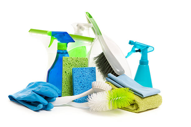 Spring Cleaning Equipment and Detergent Cleanser Products on White Subject: Environmentally friendly detergent and cleaning products and equipment on a white background. scrubbing brush stock pictures, royalty-free photos & images