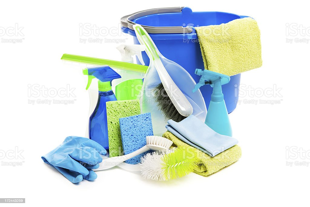Spring Cleaning Equipment and Detergent Products on White Background royalty-free stock photo
