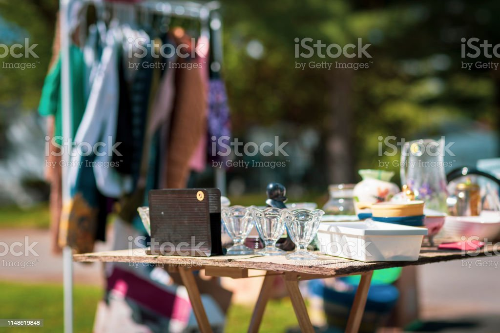 Spring Cleaning Garage Sale - Royalty-free Clothing Stock Photo