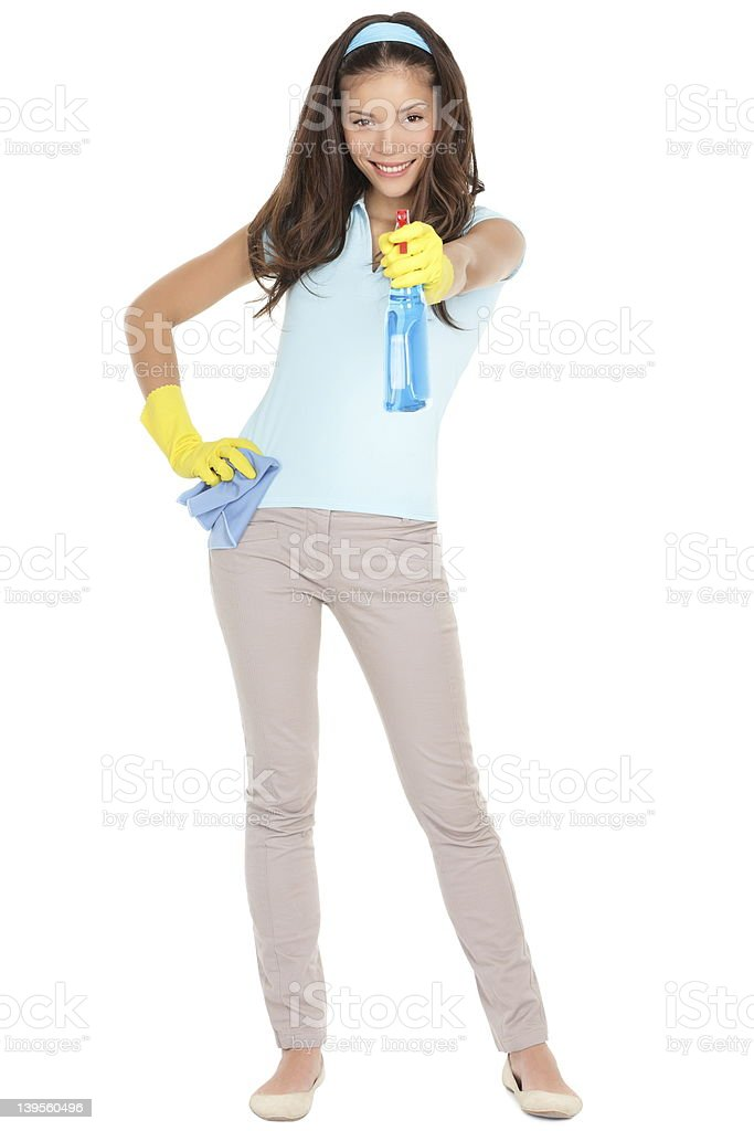 Spring cleaning woman fun royalty-free stock photo