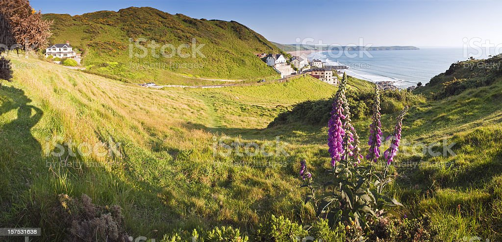Spring coastal scenic, panorama. stock photo