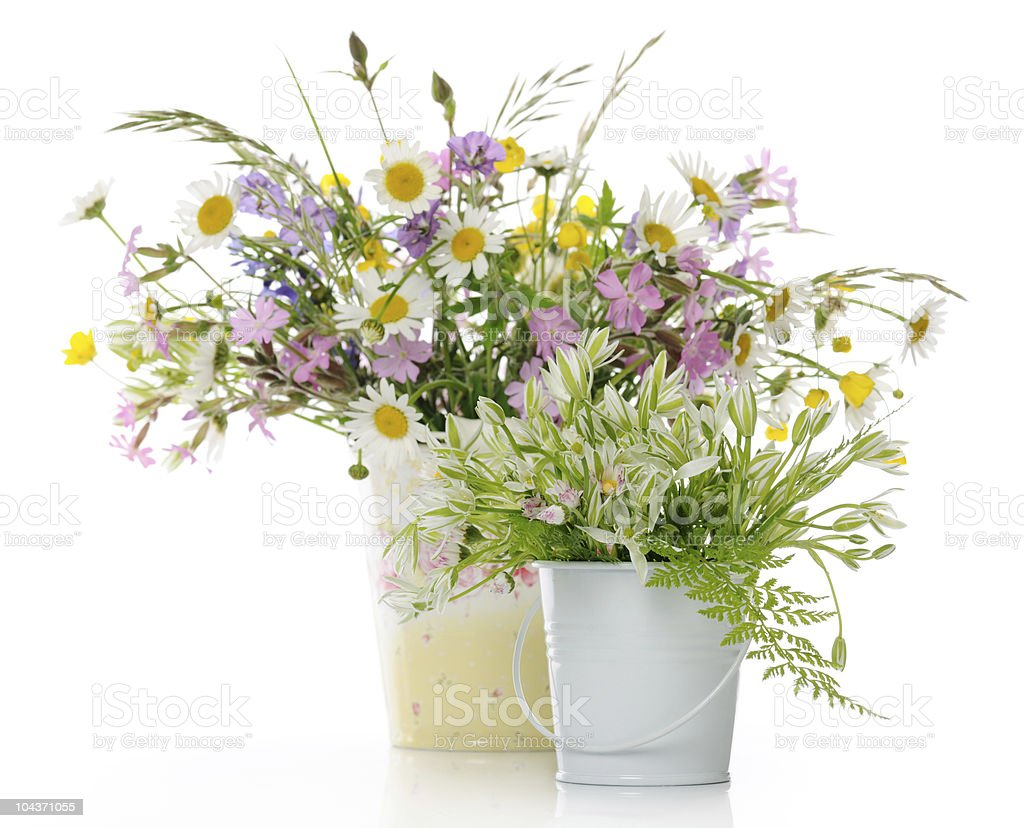 Spring colorful flower arrangement in white vases royalty-free stock photo