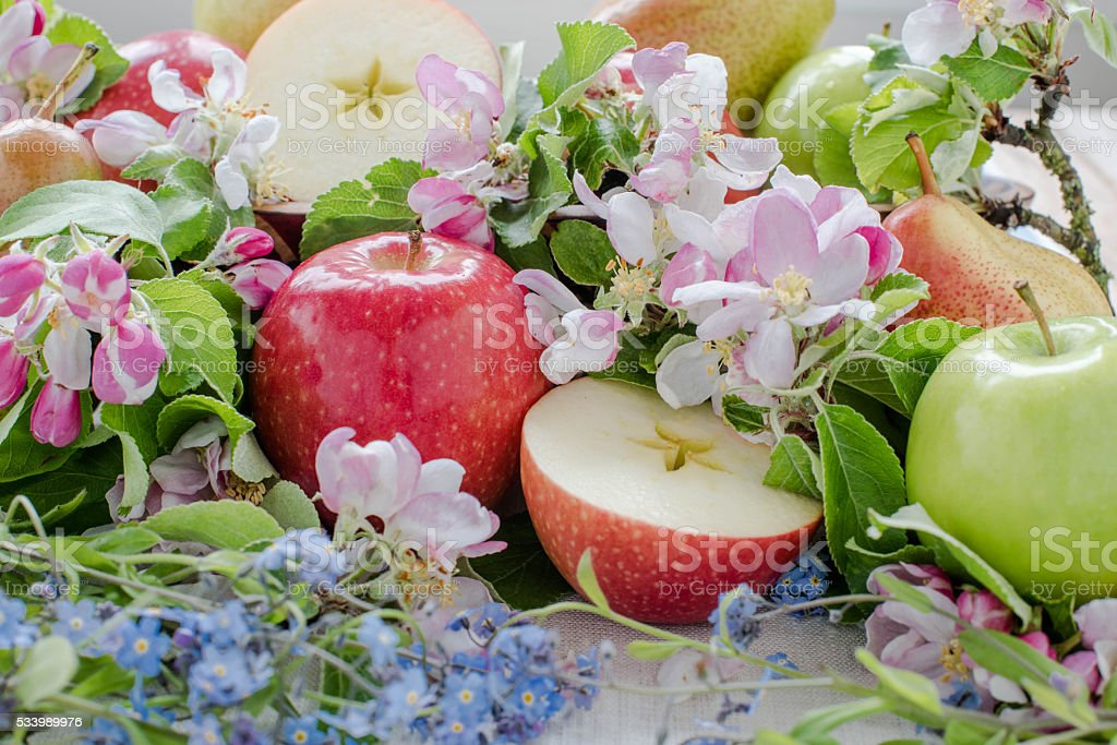 Spring composition with fruits and flowers – zdjęcie