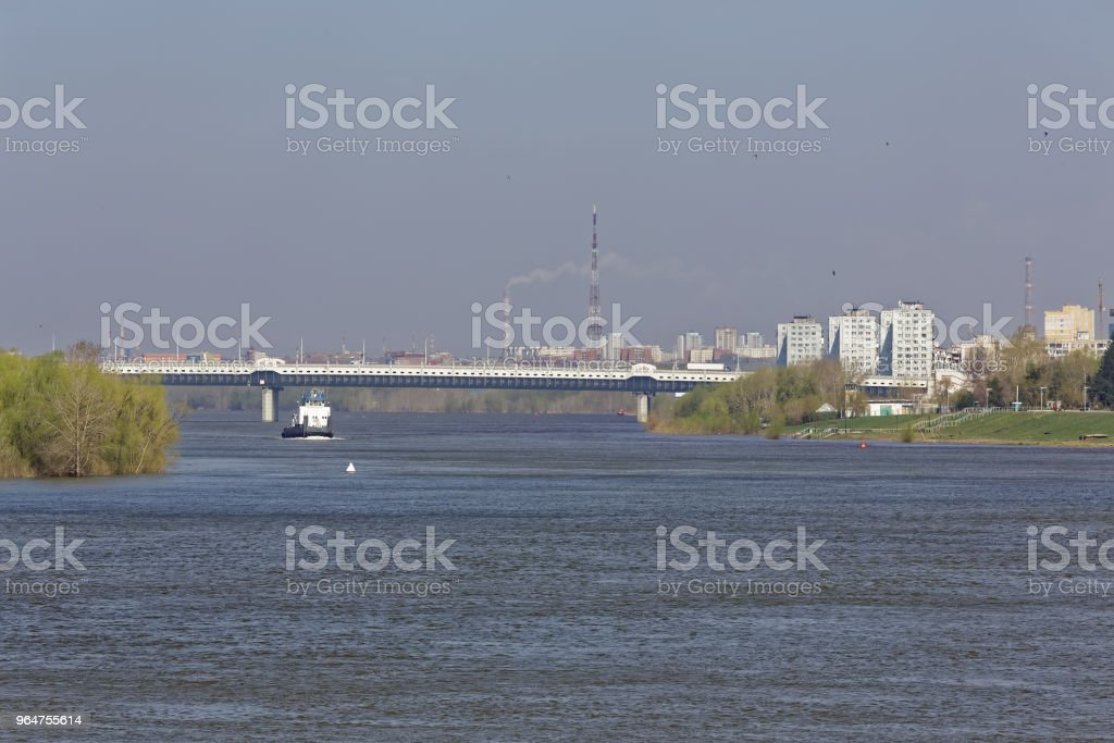 A spring day in the Siberian city of Omsk. View from the Irtysh River royalty-free stock photo