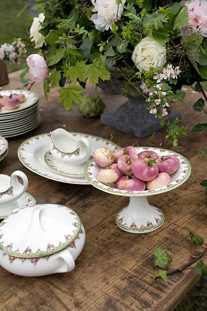 spring decorated table stock photo