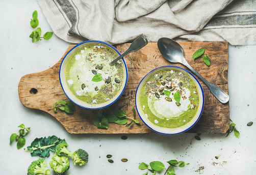 Spring detox broccoli cream soup with mint and coconut cream