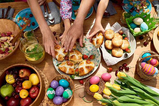 spring dinner - easter stock pictures, royalty-free photos & images