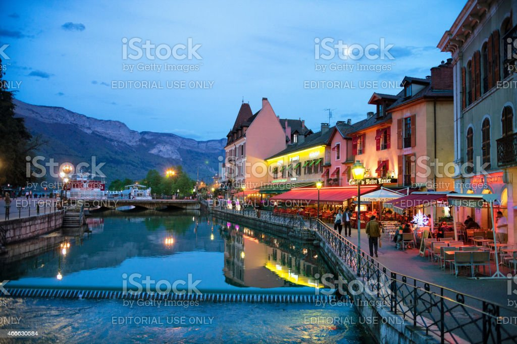 Spring Evening Canal Restaurants Rhone Alpes Annecy France