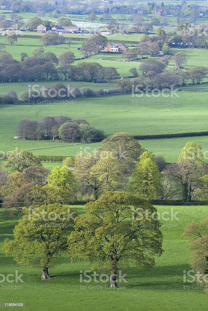 Spring evening view from Alderly Edge hills, typical English lan royalty-free stock photo