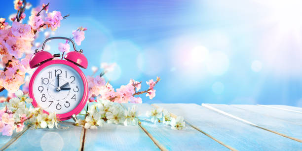 spring farward time - savings daylight concept - spring stock pictures, royalty-free photos & images