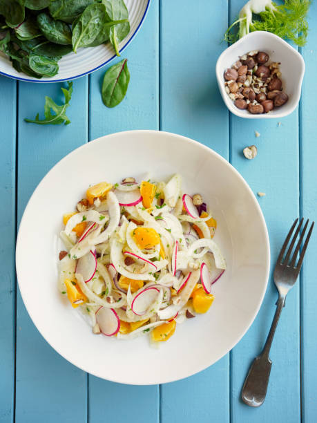 Spring fennel orange slaw Home made freshness fennel,radish,orange and red onion slaw with roasted hazelnuts. fennel stock pictures, royalty-free photos & images