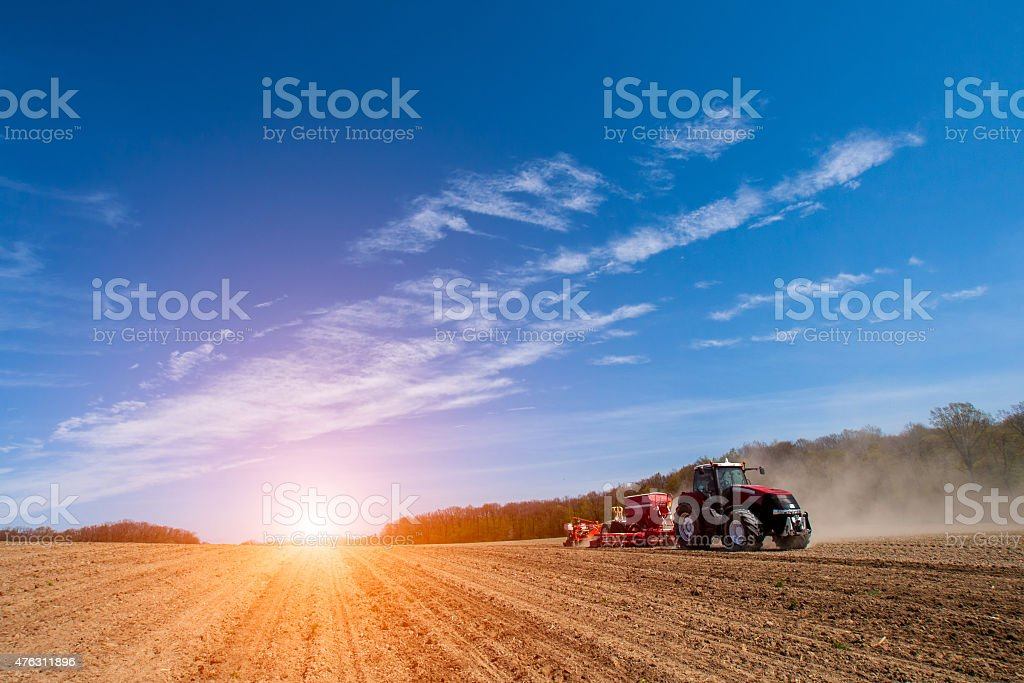 Spring field works stock photo