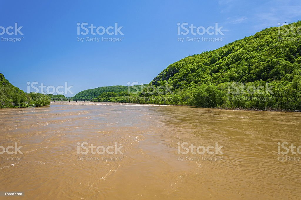 Spring flooding on Potomac River in Harper's Ferry, West Virginia royalty-free stock photo