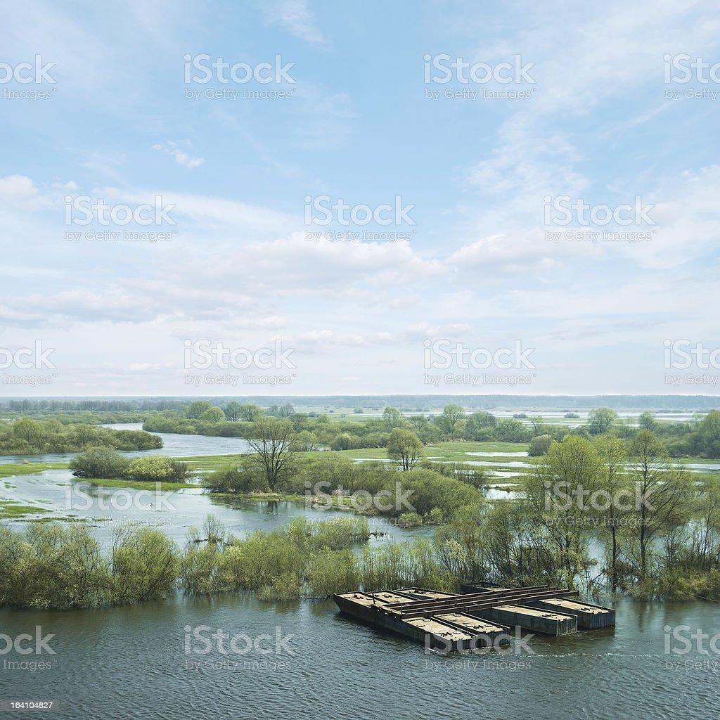Spring flooding royalty-free stock photo