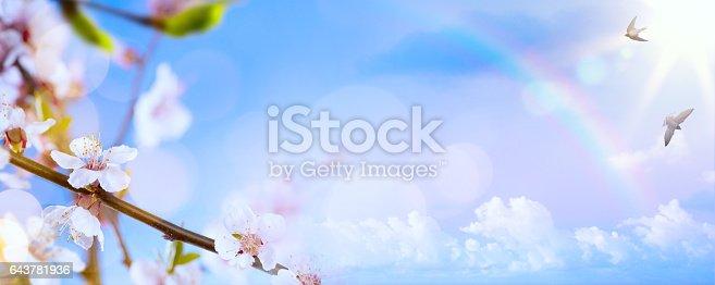 istock Spring flower background; Easter landscape 643781936