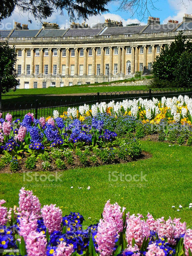 Spring Flowers And Historic Old Apartments Bath England Stock Photo