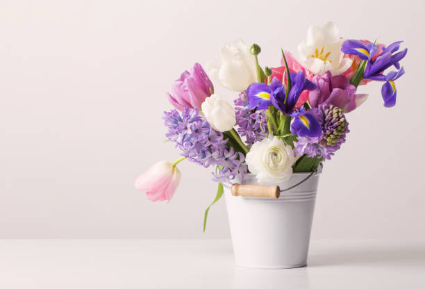 spring flowers in bucket on white  background - vase stock pictures, royalty-free photos & images