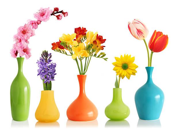 Spring flowers in vases stock photo
