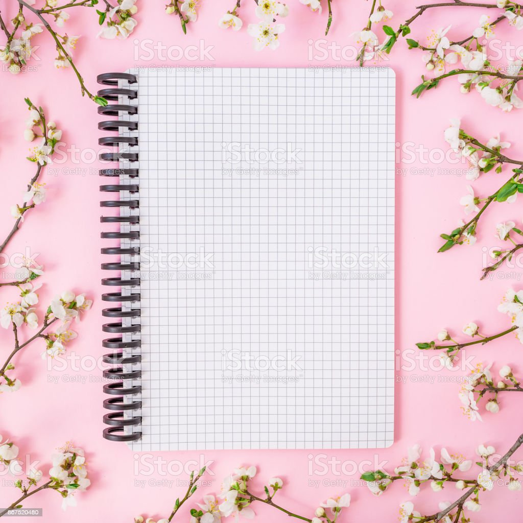 Spring Flowers Notebook On Pink Background Flat Lay Top View Woman