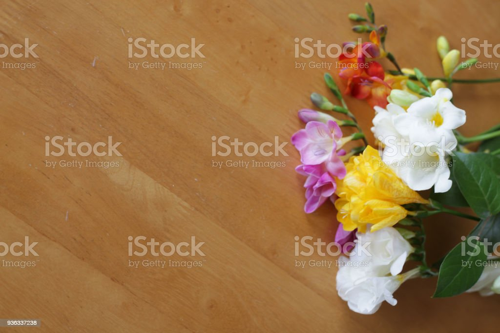 Spring flowers on the table stock photo
