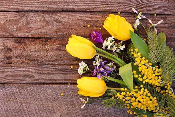spring flowers: yellow tulips, mimosa, snowdrops, crocus - immagini mimosa 8 marzo foto e immagini stock