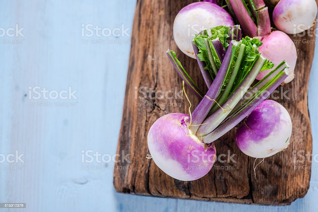 Spring fresh young purple turnip stock photo
