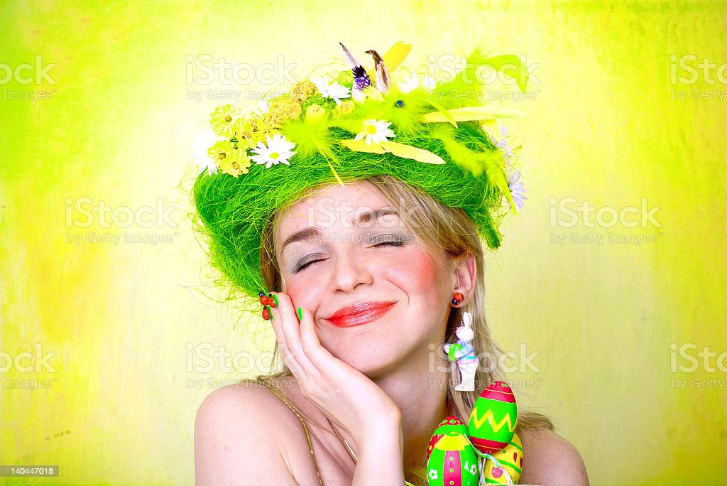 Spring girl with Easter eggs royalty-free stock photo