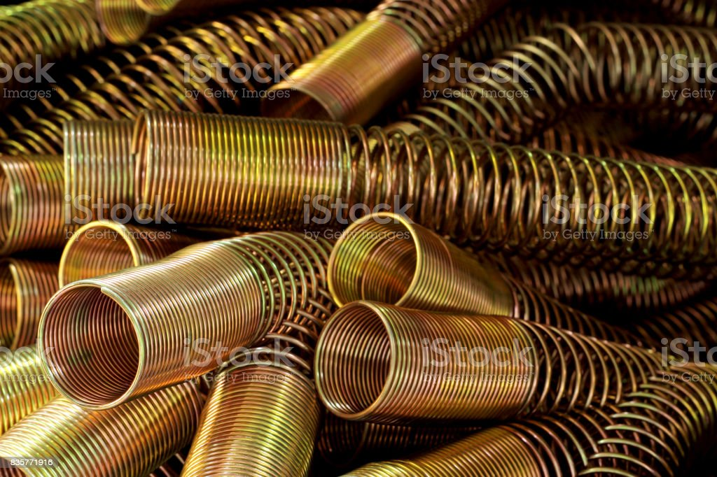 Spring gold for hydraulic. stock photo