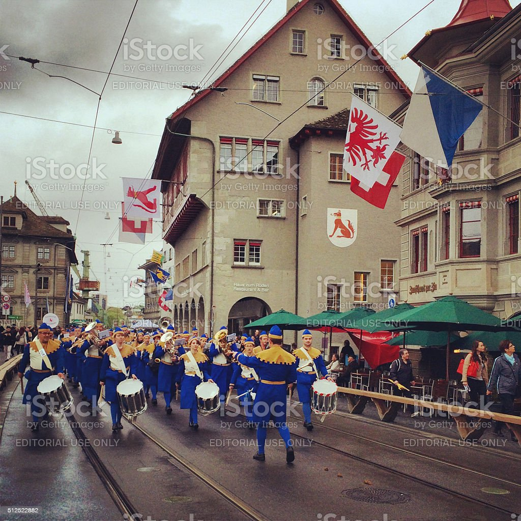 Spring Holiday - Sechselauten parade in Zurich. People in costumes...