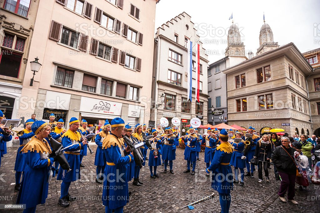 Spring Holiday - Sechselauten parade in Zurich. Musical Band marching...