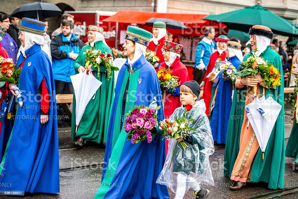 Spring Holiday - Sechselauten parade in Zurich. People dressed in...