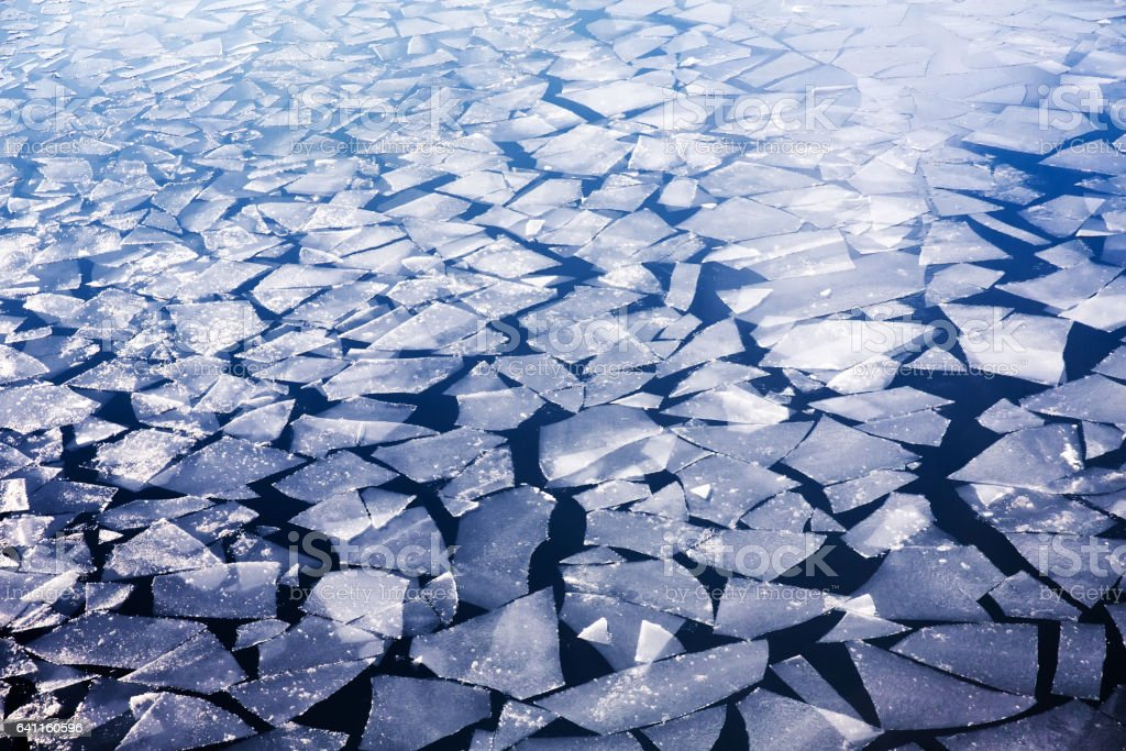 Spring ice drifting on the river stock photo