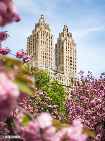 Spring in Central Park in New York City. A view of the Upper West Side of Manhattan and famous The Eldorado building.
