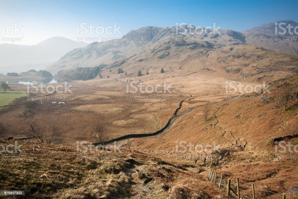 Spring in  English Lake District view of Blea Tarn stock photo