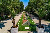 Spring in sea Garden Park, Varna Bulgaria. Flower alleys in public park - (Bulgarian: Морска градина, Варна, България).  The picture was taken with DJI Phantom 4 Pro drone / quadcopter.