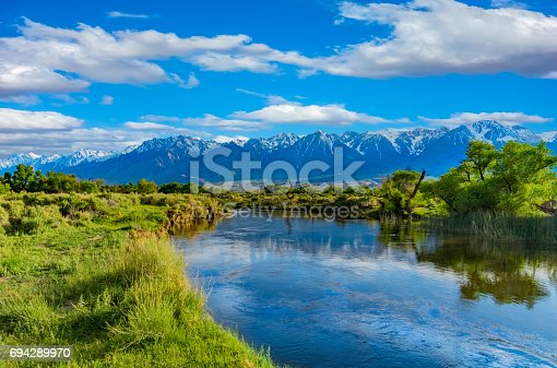 Spring in California; California Sierra Nevada Spring; Spring run off; moving water; flowing water; winding river bend; Owens River Valley; snowcapped mountains; water reflections; spring foliage; Inyo County; spring mountain scene