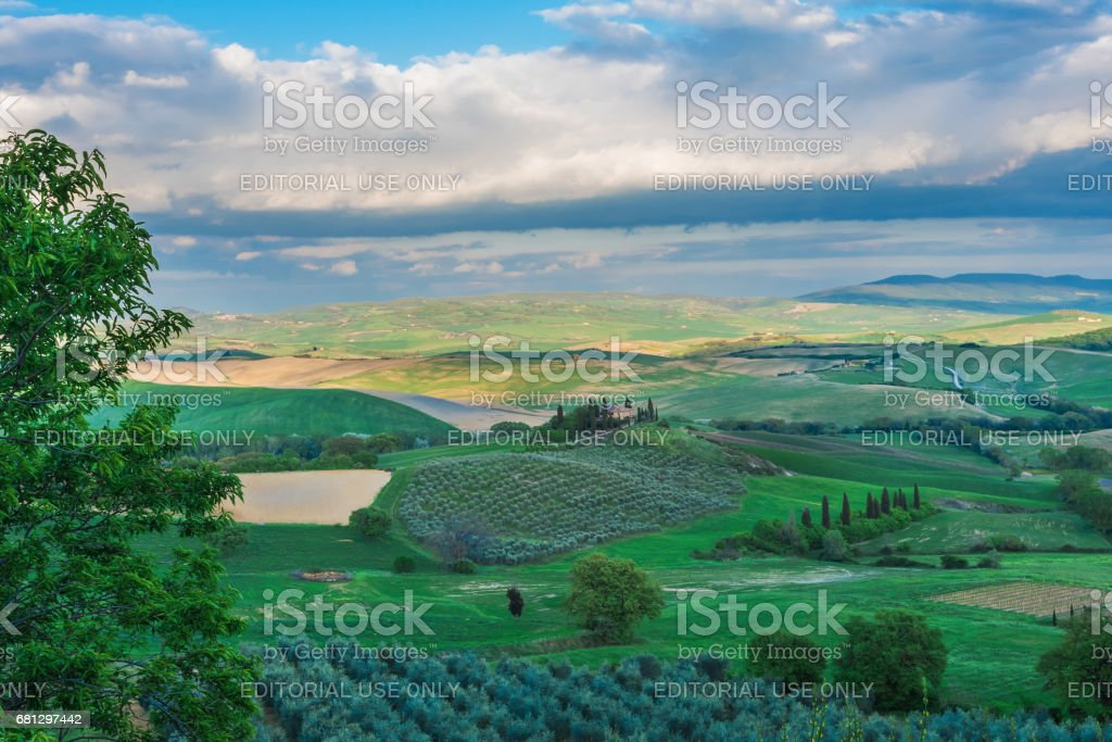 Spring in Val d'Orcia (Tuscany, Italy) stock photo