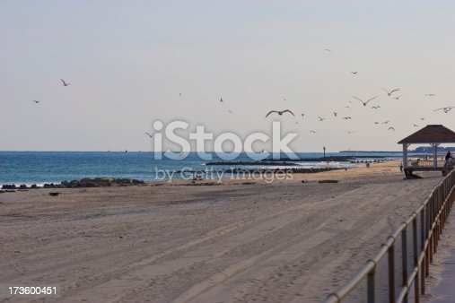 The boardwalk and beach at Spring Lake, New Jersey.