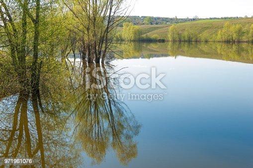 spring Lake. Pond spring. Lake in the spring park. spring lake scene. The shore of  lake in spring.
